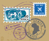 Africa post stamps — Stok Vektör