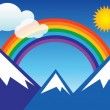 Rainbow and mountain — Stock Vector