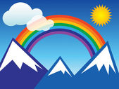 Rainbow and mountain — Stock Vector