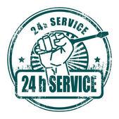 24 godzinny serwis pieczęć — Wektor stockowy