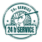 24-uurs service stempel — Stockvector