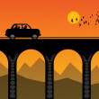 Car on the bridge — Stock Vector