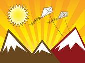 Kite and mountain — Stock Vector