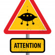 Stock Vector: UFO arewarning sign