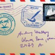 Vector de stock : Mail envelope with stamps