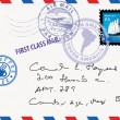 Vector de stock : Air mail envelope with stamps