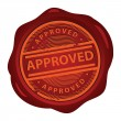 Wax seal Approved — Stock Vector