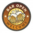 Bar Open label — Stock Vector