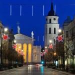 Vilnius at night, Christmas — Stock Photo