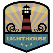 Label with lighthouse — Imagen vectorial