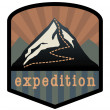 Vector de stock : Mountain expedition sign