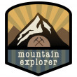 Stock Vector: Mountain explorer sign