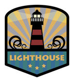 Label with lighthouse — Stock Vector