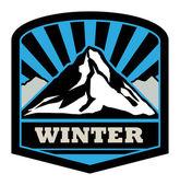 Winter mountain sticker — Stock Vector