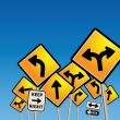 Stock Vector: Road signs chaos