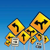 Road signs chaos — Stock Vector