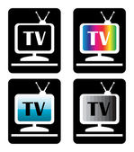 Four tv icons — Stock Vector