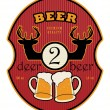 2 Deer Beer label — Stock Vector