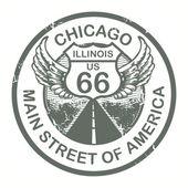 Route 66, timbro di chicago — Vettoriale Stock