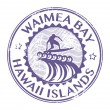 Waimea Bay, Hawaii stamp — Vettoriali Stock