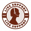 Live Support stamp - Stock Vector