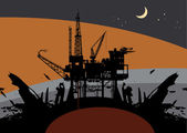 нефтяной вышке бурения платформы — Cтоковый вектор