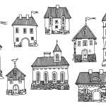 Cartoon houses — Stock Vector