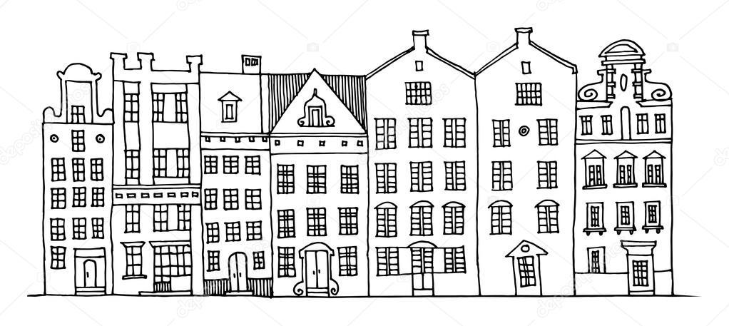 Cartoon hand tekenen van huizen stockvector fla 19109821 for Huizen tekenen