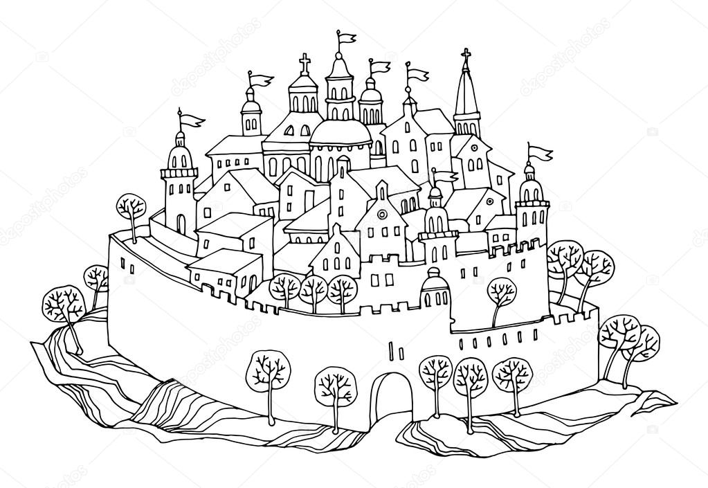 Cartoon Hand Drawing Castle Stock Vector 169 Fla 19319059