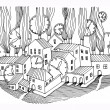 Hand drawing houses — Stock Vector