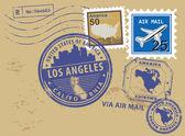 California, Los Angeles stamp set — Stock Vector