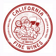 California, Fine Wines stamp — Stock Vector