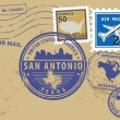Texas, San Antonio stamp set - Stok Vektör