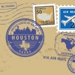 Texas, Houston stamp set - Stock Vector