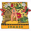 Colorful houses and garden — Stock Vector