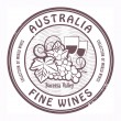 Stock Vector: Australia, Fine Wines stamp