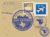 Texas, San Antonio stamp set — Stock Vector