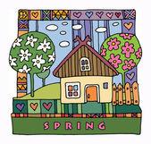 Kolorowy dom i ogród — Wektor stockowy