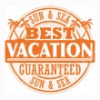 Best Vacation, Sun and Sea stamp - Stock Vector