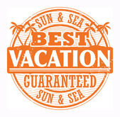 Best Vacation, Sun and Sea stamp — Stock Vector