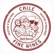 Chile, Fine Wines stamp - Stock Vector
