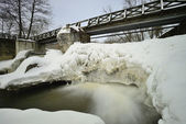 River dam in winter — Stock Photo