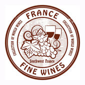 France, Fine Wines stamp — Stock Vector