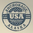 Stok Vektör: Alaska, Anchorage stamp