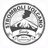 Stromboli Volcano, Sicily stamp — Stock Vector
