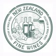 Stock Vector: New Zealand, Fine Wines stamp