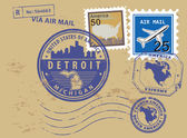 Michigan, Detroit stamp set — Stock Vector
