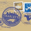 North Carolina, Charlotte stamp — Stok Vektör