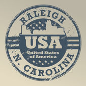 North Carolina, Raleigh stamp — Stock Vector