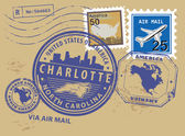 North Carolina, Charlotte stamp — Stock Vector